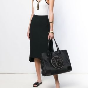 Tory Burch Ella Stud Black Nylon Tote